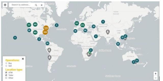 Bản đồ phân bố cây ATM cho phép người dùng rút Litecoin trên toàn cầu