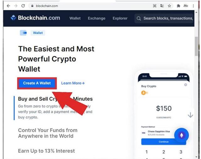 """Chọn """"Create A Wallet"""" để tạo ngay một ví lưu trữ coin"""
