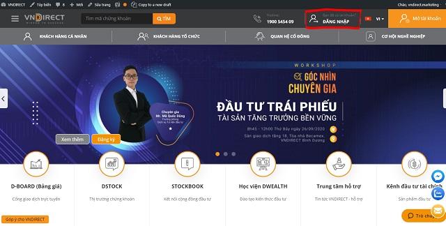 Đăng nhập vào tài khoản đã đăng ký trên VNDIRECT