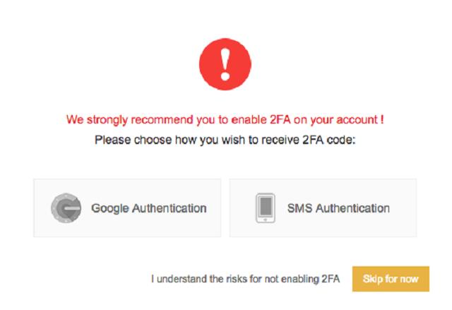Kích hoạt tài khoản 2FA bằng google hay SMS trên điện thoại