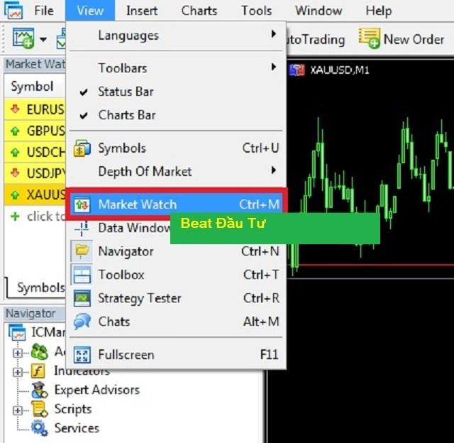 Mở cửa sổ Market bằng cách chọn vào mục View và chọn Market Watch
