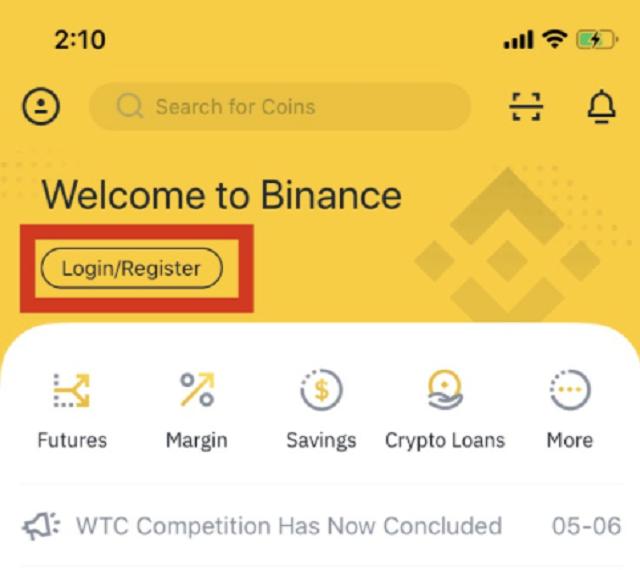 Mở ứng dụng Binance có giao diện như trên.