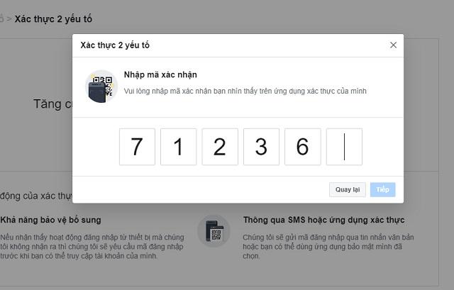 Nhập mã xác nhận do Google Authenticator cung cấp