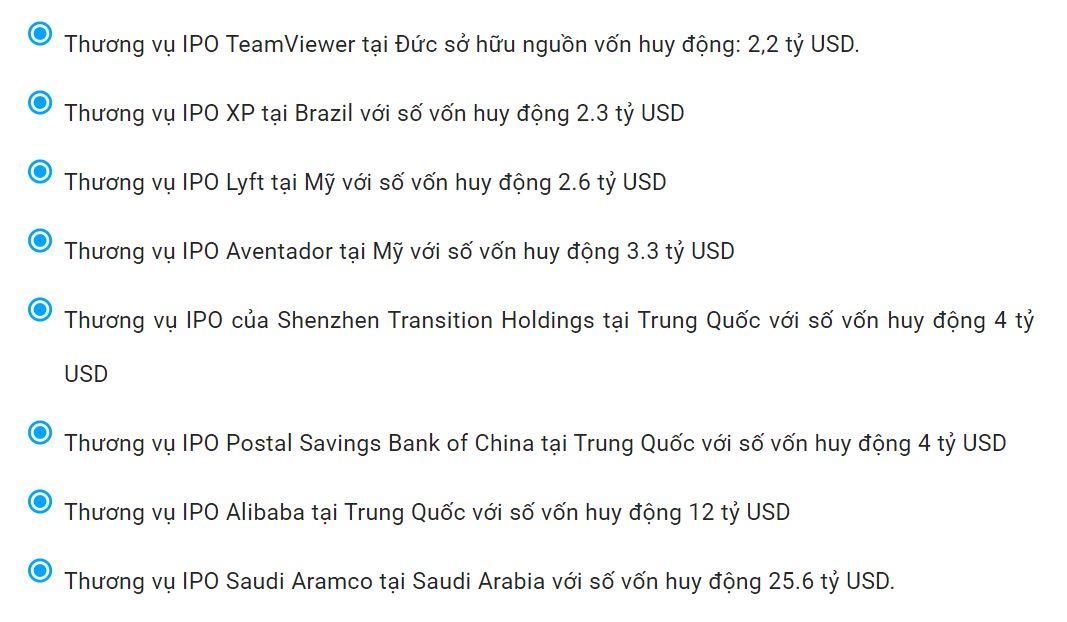 Các thương vụ IPO đình đám trên thế giới