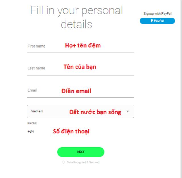 Điền thông tin cá nhân