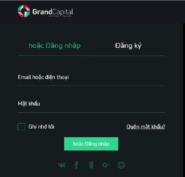 Giao diện đăng nhập tài khoản GrandCapital