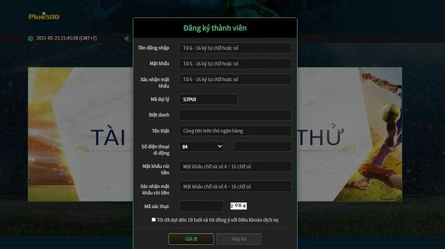 Người chơi điền đầy đủ thông tin vào form đăng ký