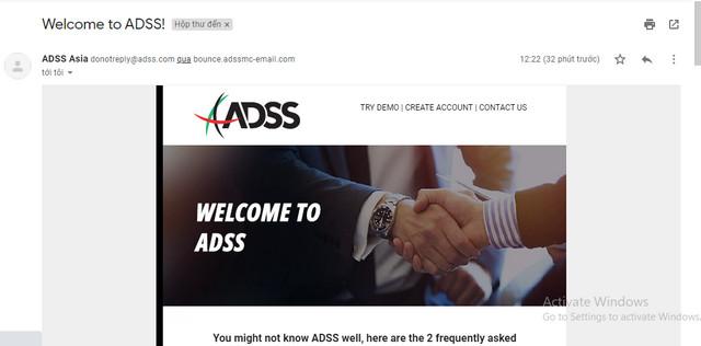 Vào email xác nhận thư việc đăng ký tài khoản tại ADSS