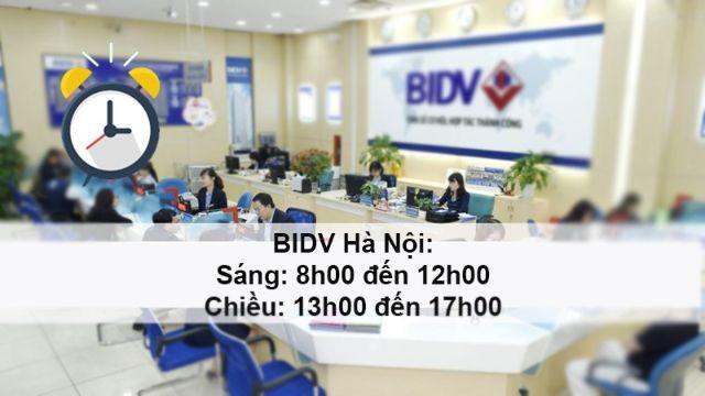 Tùy vào hoạt động và địa điểm mà phòng giao dịch BIDV có thời gian làm việc khác nhau
