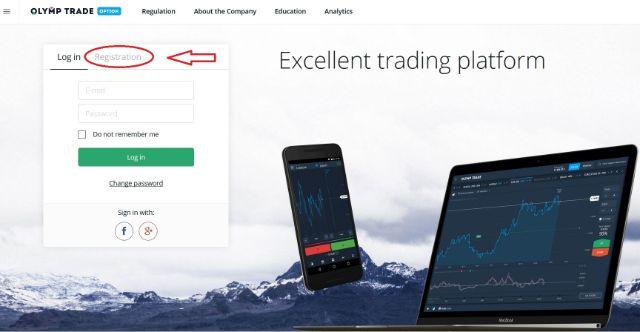 Truy cập vào link trang chủ để đăng ký tài khoản Olymp Trade