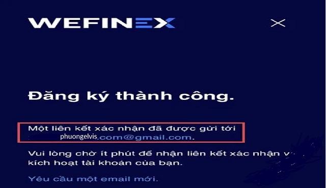 Wefinex gửi thông tin đến email đăng ký của người dùng