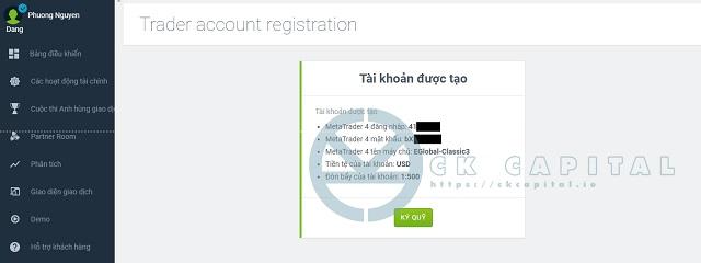 Nhận thông tin khi đăng ký thành công