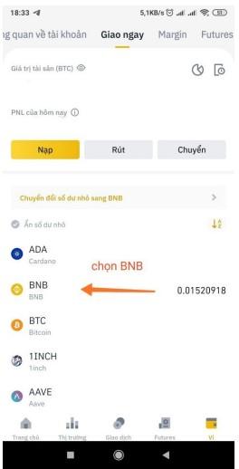 Bước 1 Tìm và chọn BNB
