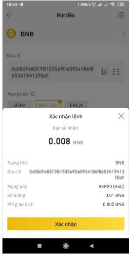 Bước 4 Rút tiền BNB