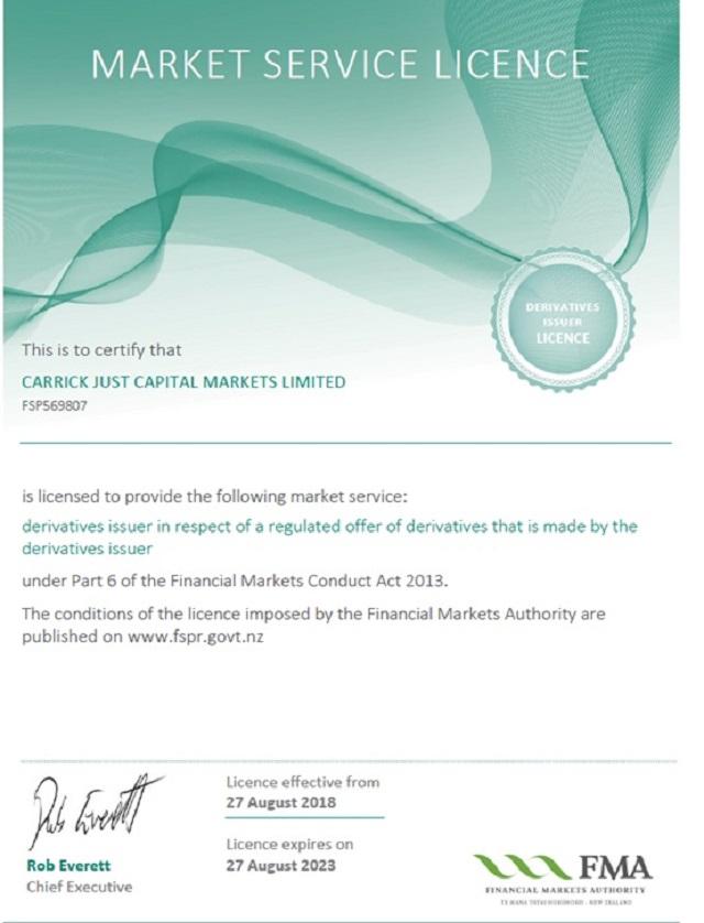 CJC Markets được cấp phép hoạt động bởi các cơ quan quản lý tài chính tại New Zealand