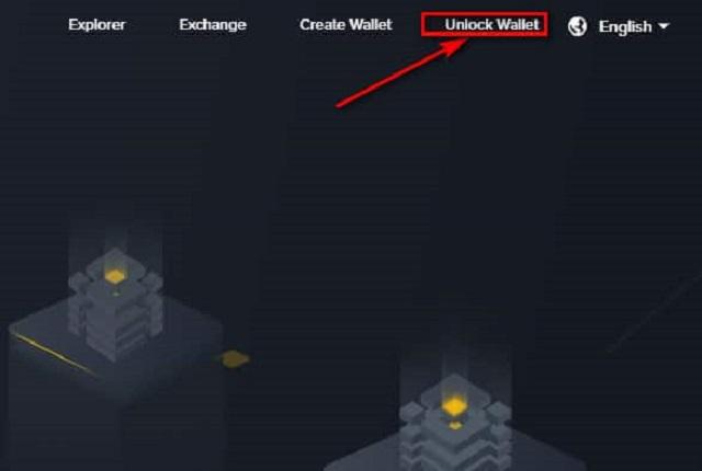 """Chọn phần """"Unlock Wallet"""" trên giao diện chính"""