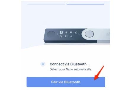 """Chọn vào phần """"Pair via Bluetooth"""" để thực hiện kết nối điện thoại với ví lạnh"""