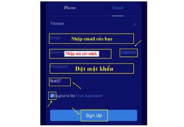 Cung cấp địa chỉ email vào thiết lập tài khoản đăng nhập