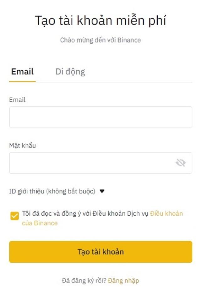 Điền địa chỉ email và mật khẩu vào form yêu cầu hệ thống gửi về
