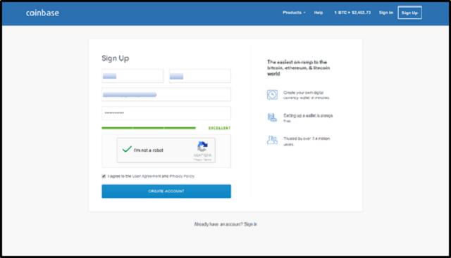 Giao diện màn hình tạo tài khoản cho ví coinbase