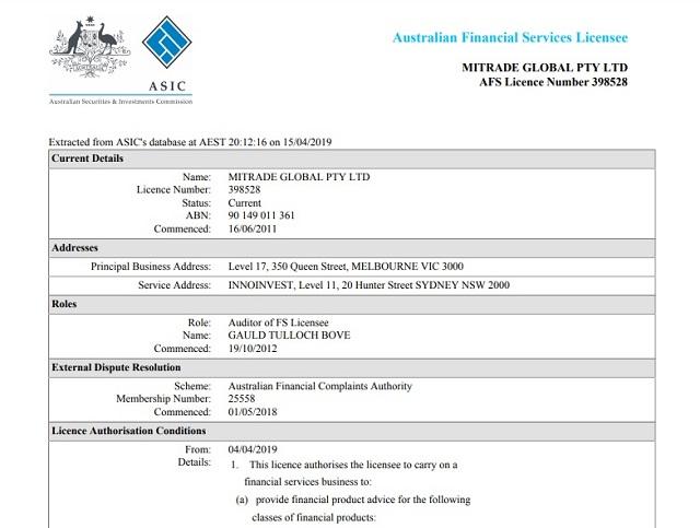 Giấy phép hoạt động của sàn Mitrade cấp bởi ASIC