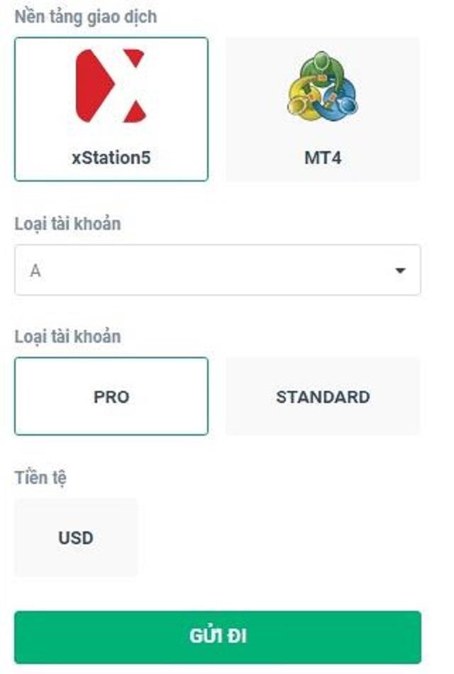 Lựa chọn tài khoản Standard hoặc tài khoản Pro