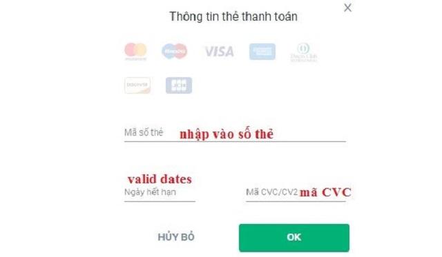 Nhập thông tin liên quan đến thẻ