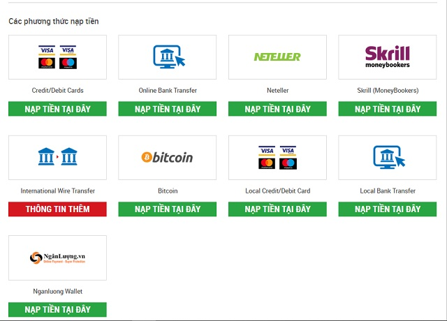 Phương thức nạp và rút tiền trên sàn FxPro có tính đa dạng cao với nhiều cổng thanh toán