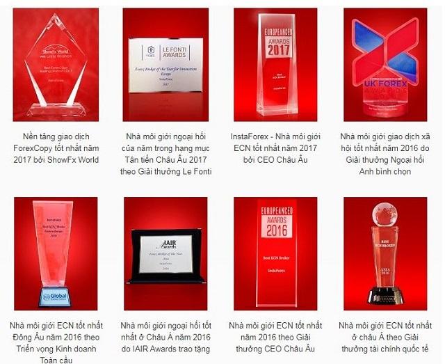 Sàn InstaForex sở hữu hơn 30 giải thưởng danh giá