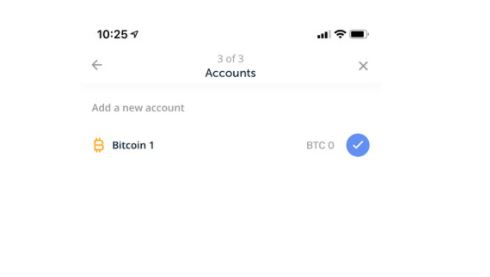 Tạo tài khoản với loại coin tương ứng