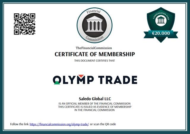 Từ năm 2016, Olymp Trade chính thức là thành viên của Ủy ban Tài chính Quốc tế FinaCom