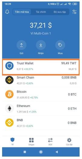 Bước 2: Gửi TWT từ Trust Wallet đến Binance