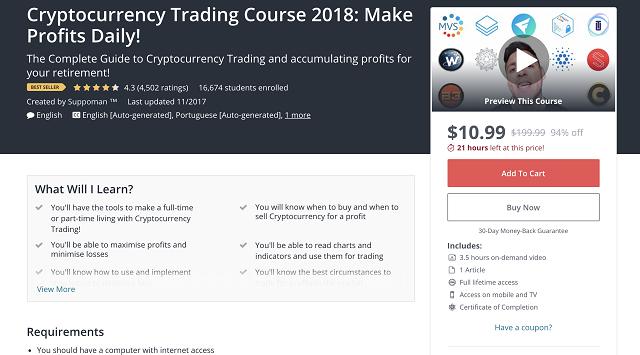 Udemy cung cấp khóa học trade coin từ cơ bản đến nâng cao