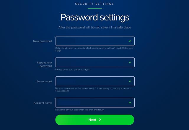 Cài đặt mật khẩu và tên tài khoản để đăng nhập vào Payeer