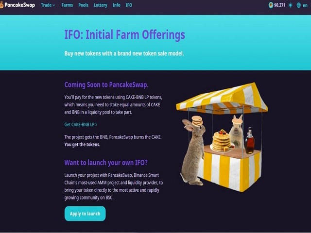 IFO là một sản phẩm tích hợp trong sàn Pancake Swap