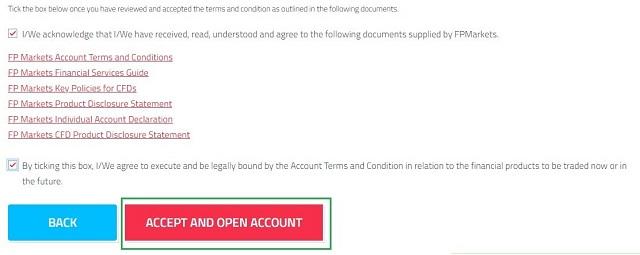 """Trả lời các câu hỏi về rủi ro trong giao dịch ngoại hối và chọn """"Accept and open account"""""""