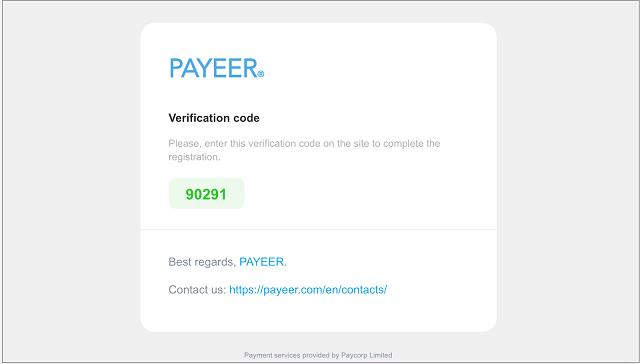 Xác minh tài khoản bằng mã xác minh Payeer