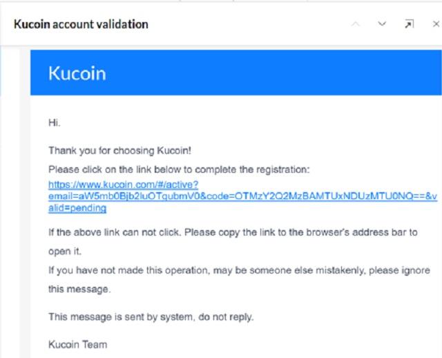 Xác nhận mở tài khoản trên sàn KuCoin qua email