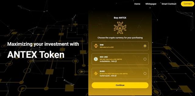 ANTEX cho phép thanh toán bằng đồng BNB, BSC-USD và BUSD