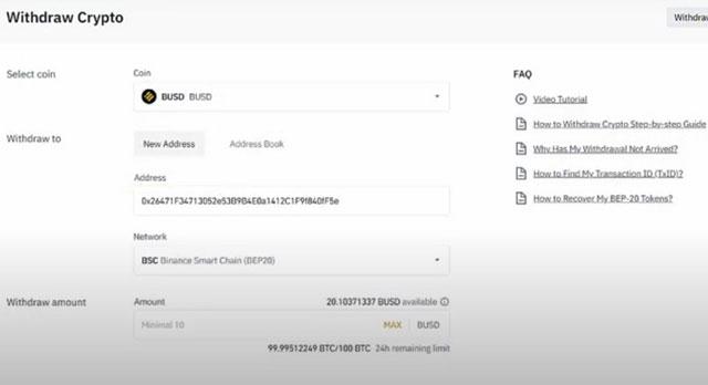 Copy địa chỉ ví và mạng lưới BSC bên sàn FTX và dán vào bên sàn Binance