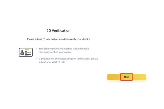 """Bấm vào """"Next"""" để bắt đầu tải giấy tờ tùy thân lên và xác minh ID"""