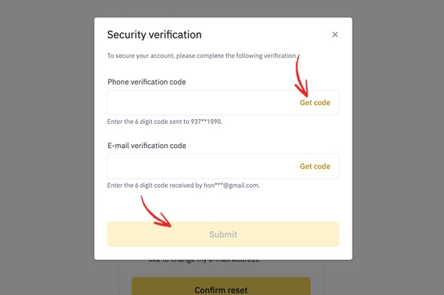 Lấy mã code và điền thông tin tương ứng vào mã code xác nhận số điện thoại và email
