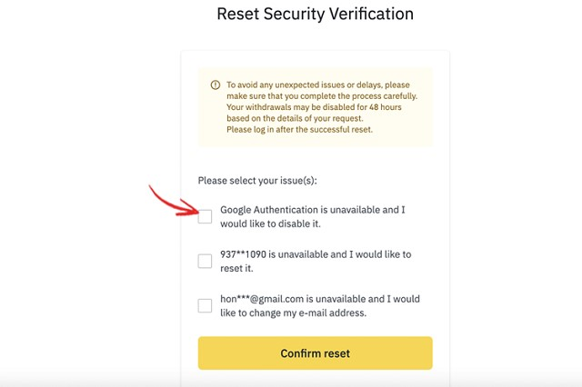 Lựa chọn mục đang cần đặt lại bảo mật để xác nhận