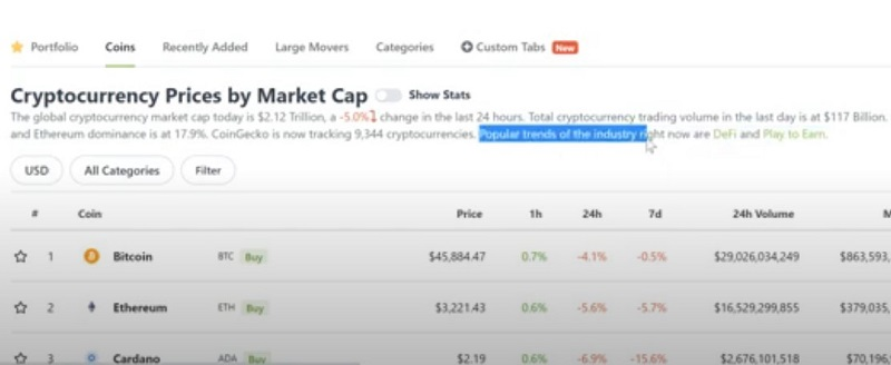Bạn có thể tìm hiểu vốn hóa thị trường của đồng coin trên trang Coingecko.com