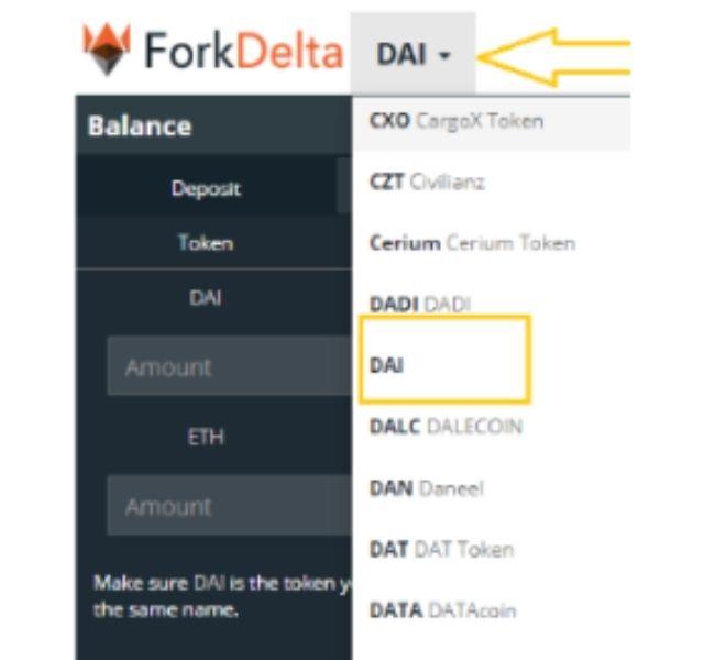Lựa chọn Token cần thực hiện giao dịch mua