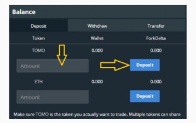 """Nhập số token cần nạp vào trong ví sàn, sau đó chọn vào mục """"Deposit"""""""